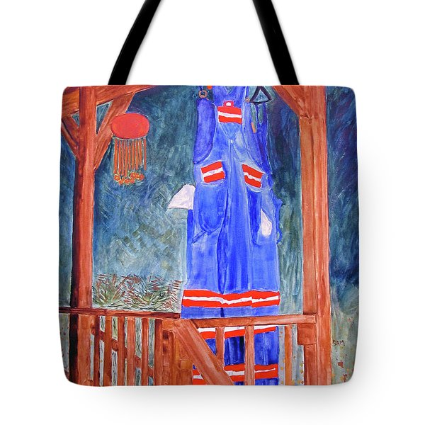 Tote Bag featuring the painting Miner's Overalls by Sandy McIntire