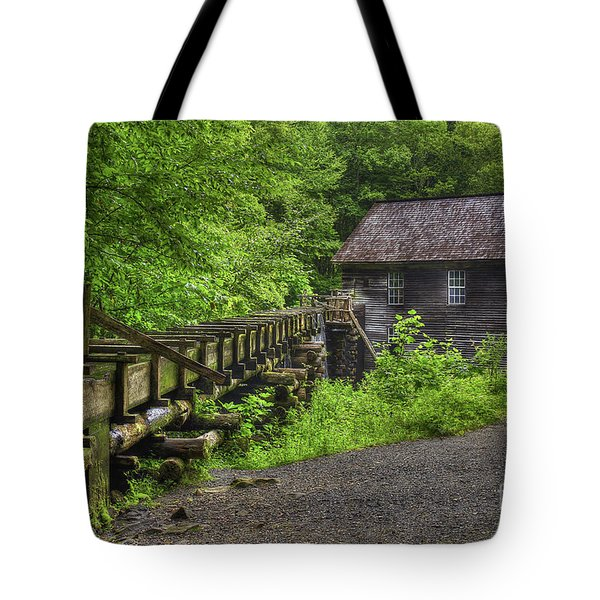 Tote Bag featuring the photograph Mingus Mill 2 Mingus Creek Great Smoky Mountains Art by Reid Callaway