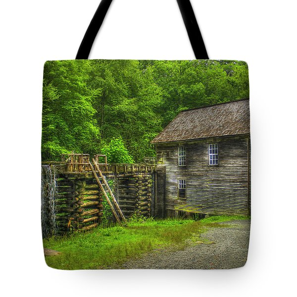 Tote Bag featuring the photograph Mingus Mill 3 Mingus Creek Great Smoky Mountains Art by Reid Callaway