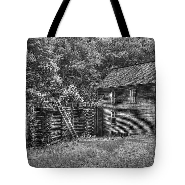 Tote Bag featuring the photograph Mingus Mill Black And White Mingus Creek Great Smoky Mountains Art by Reid Callaway