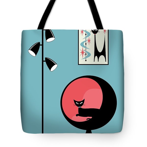 Tote Bag featuring the digital art Mini Atomic Cat On Turquoise by Donna Mibus
