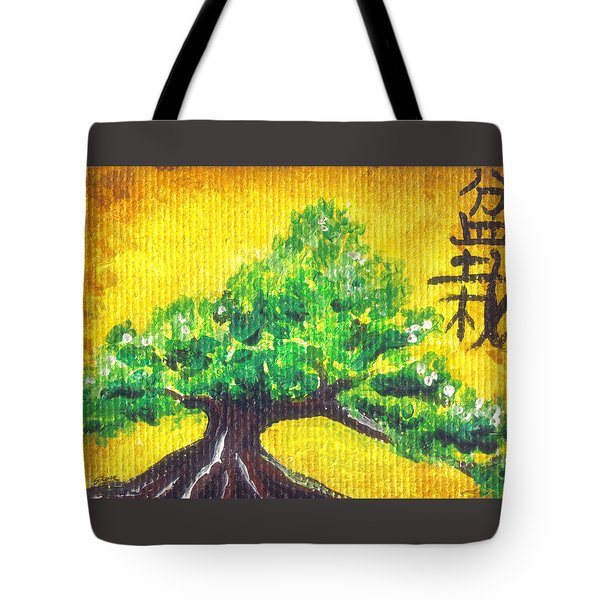 Tote Bag featuring the painting Mini Bonsai by Shawna Rowe
