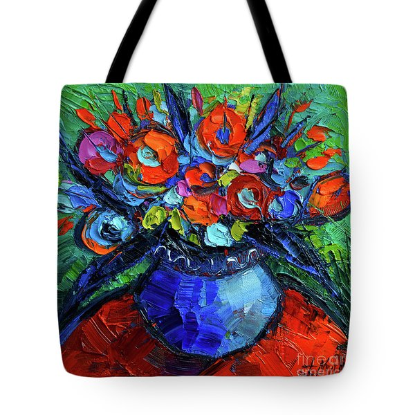 Mini Floral On Red Round Table Tote Bag