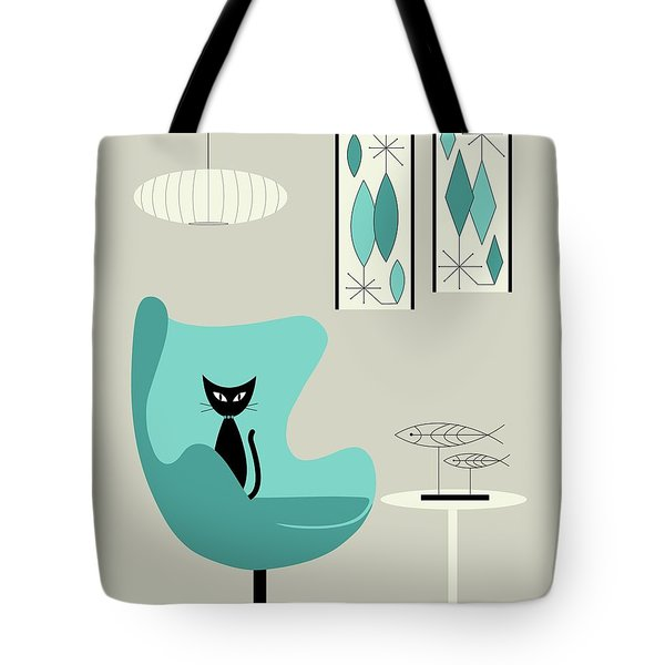 Tote Bag featuring the digital art Mini Gravel Art On Gray With Black Cat by Donna Mibus