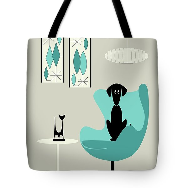 Tote Bag featuring the digital art Mini Gravel Art On Gray With Black Dog by Donna Mibus
