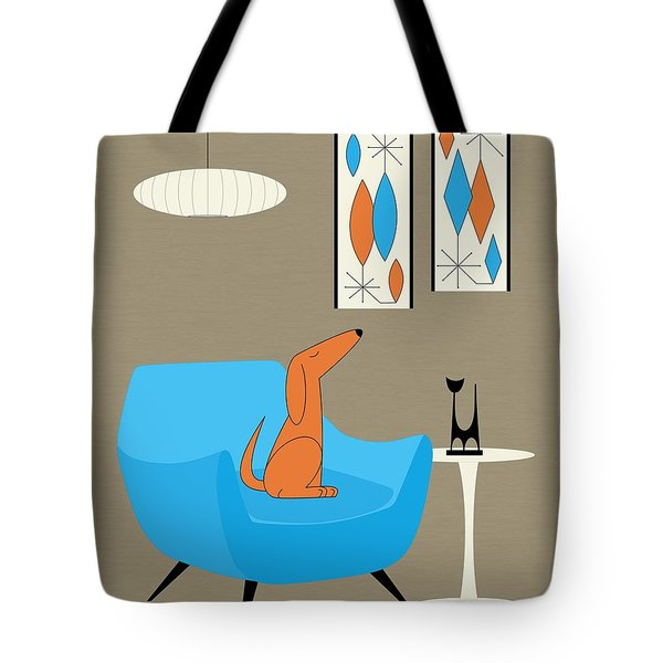 Tote Bag featuring the digital art Mini Gravel Art With Dog by Donna Mibus