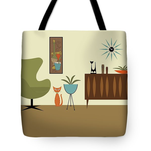 Tote Bag featuring the digital art Mini Gravel Art With Orange Cat by Donna Mibus