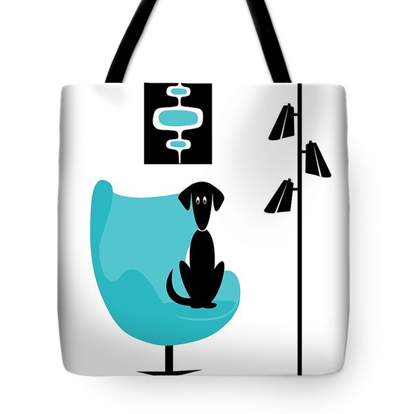 Tote Bag featuring the digital art Mini Mod Pods On White With Dog by Donna Mibus
