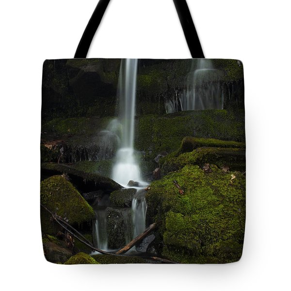 Mini Waterfall In The Forest Tote Bag by Jeff Severson
