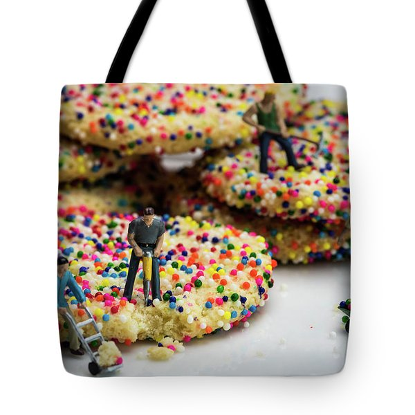 Miniature Construction Workers On Sprinkle Cookies Tote Bag