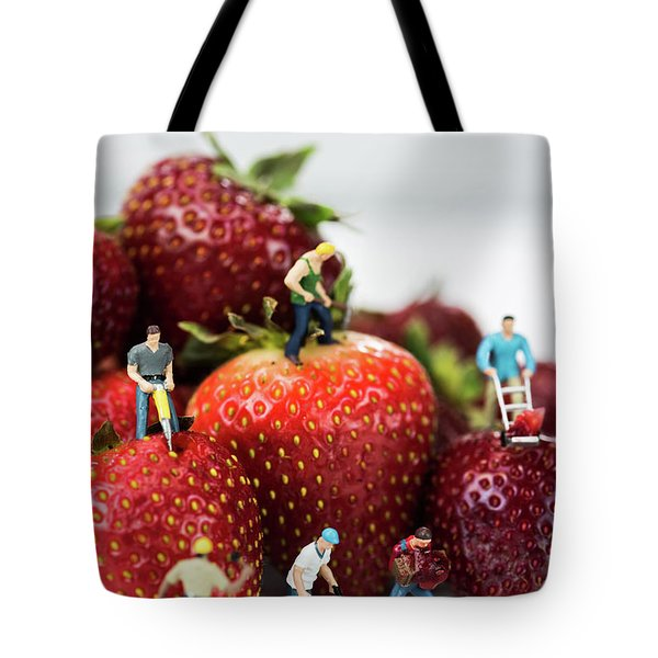 Miniature Construction Workers On Strawberries Tote Bag