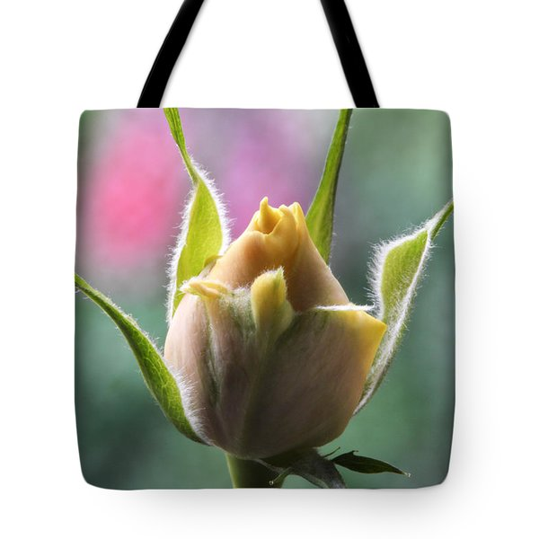 Miniature Rose Bud. Tote Bag by Terence Davis
