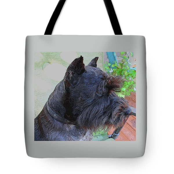 Miniature Schnauzer Sitting On The Deck Tote Bag