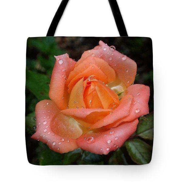 Miniature Wet Rose Tote Bag