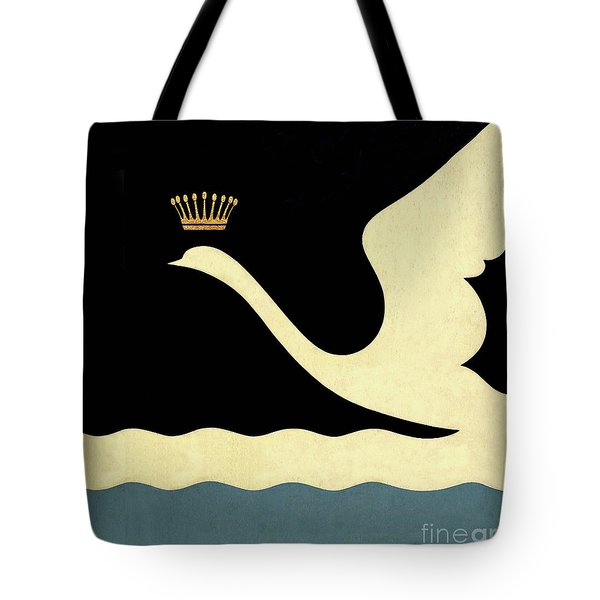 Minimalist Swan Queen Flying Crowned Swan Tote Bag by Tina Lavoie