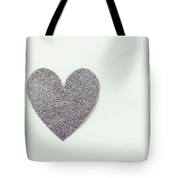 Minimalistic Silver Glitter Heart Tote Bag