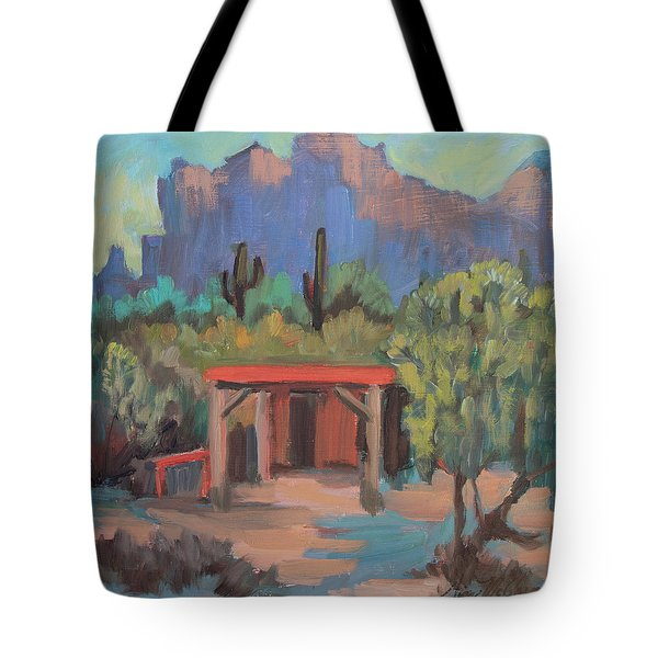 Tote Bag featuring the painting Mining Camp At Superstition Mountain Museum by Diane McClary