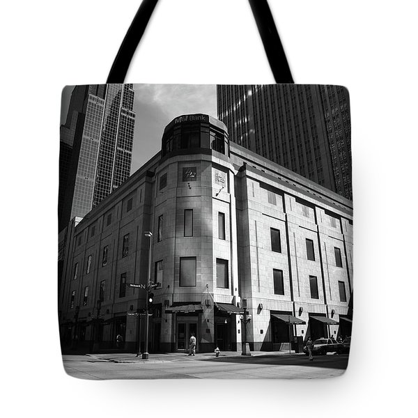 Tote Bag featuring the photograph Minneapolis Downtown Bw by Frank Romeo