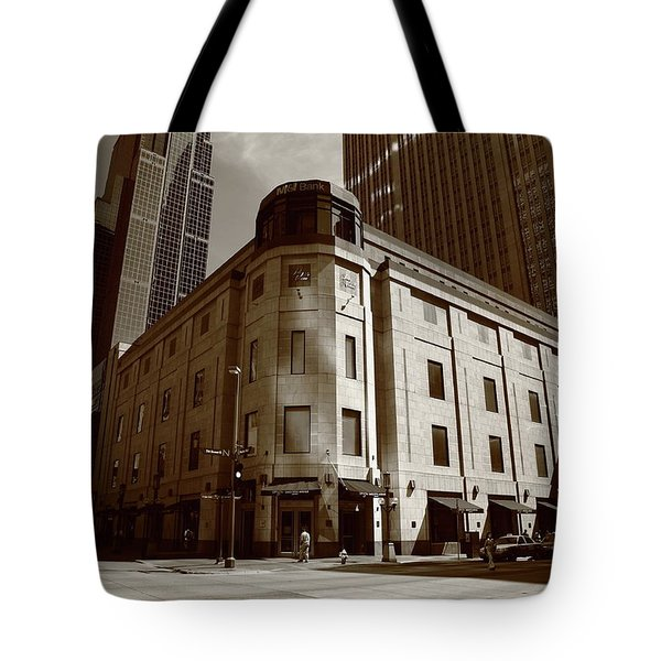 Tote Bag featuring the photograph Minneapolis Downtown Sepia by Frank Romeo