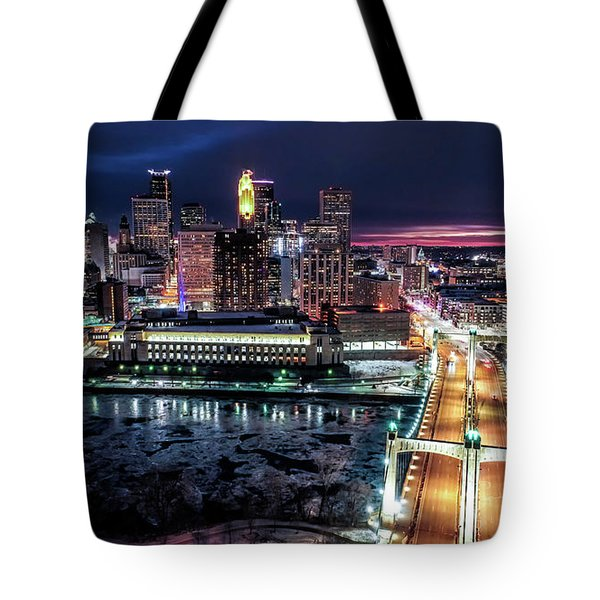 Minneapolis Skyline From The Mississippi River Tote Bag
