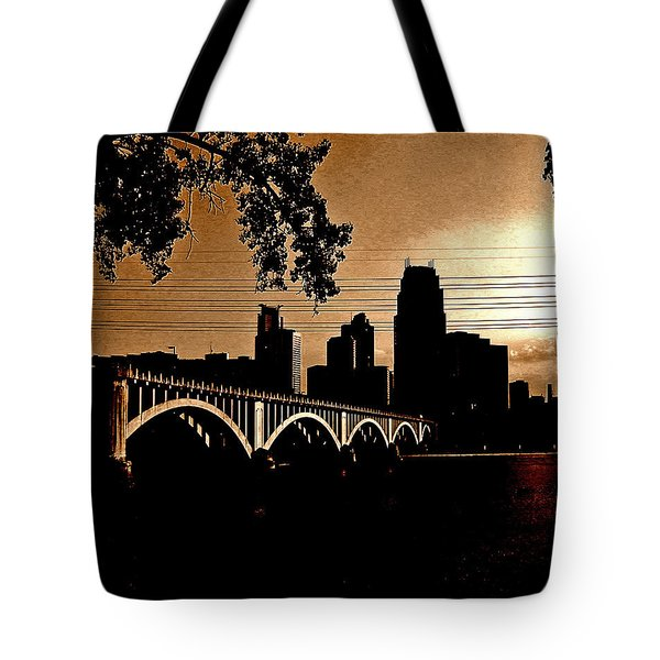 Minneapolis Skyline In Copper Tote Bag by Tom Reynen