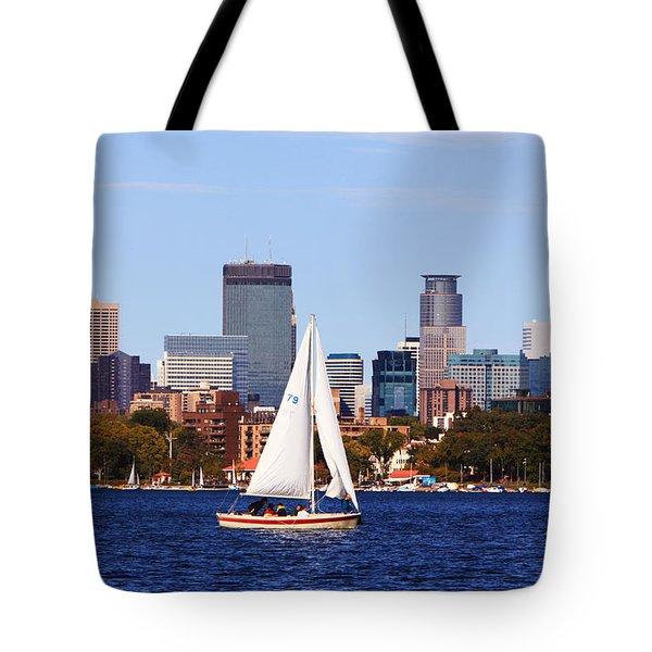 Minneapolis Skyline Lake Calhoun Sailing Tote Bag