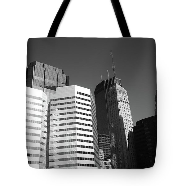 Tote Bag featuring the photograph Minneapolis Skyscrapers Bw 5 by Frank Romeo