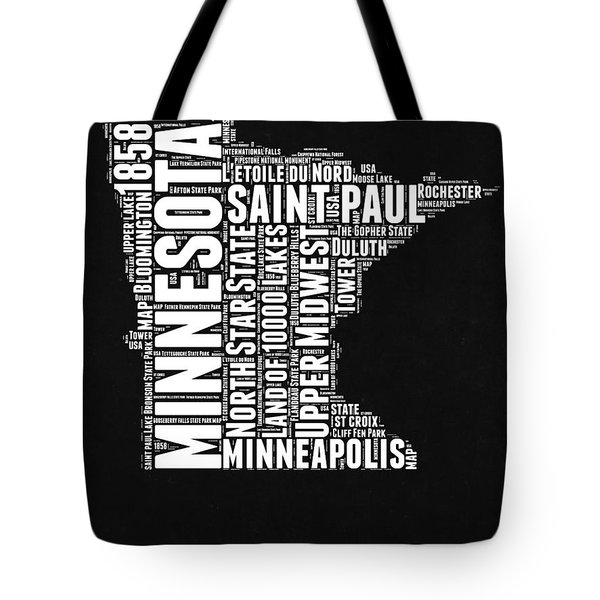 Minnesota Black And White Word Cloud Map Tote Bag