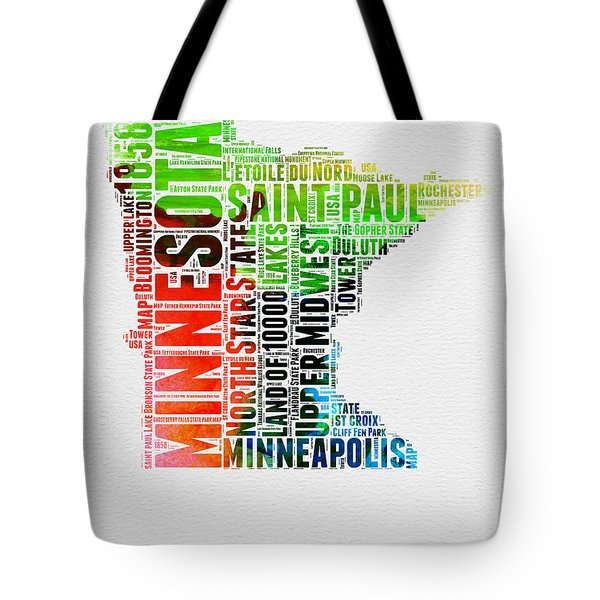 Minnesota Watercolor Word Cloud Map  Tote Bag