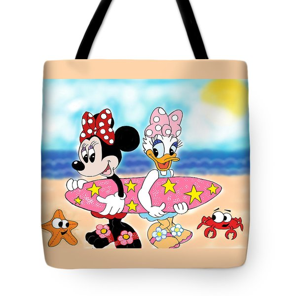 Minnie Mouse And Daisy Duck Surfing At The Beach  Tote Bag