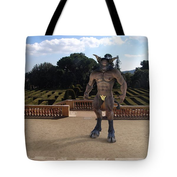 Minotaur In The Labyrinth Park Barcelona. Tote Bag by Joaquin Abella