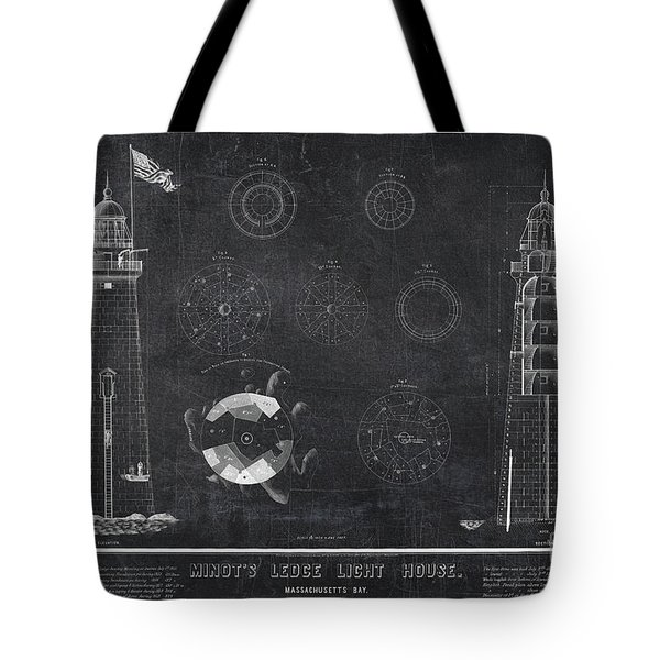 Tote Bag featuring the drawing Minot's Ledge Light House. Massachusetts Bay Near Cohasset  by Vintage