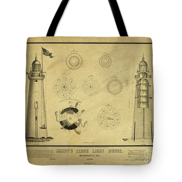 Tote Bag featuring the drawing Minot's Ledge Light House. Massachusetts Bay by Vintage