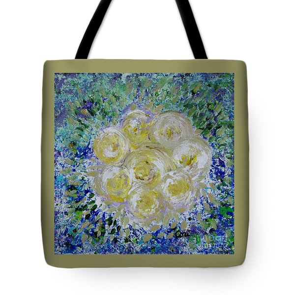 Tote Bag featuring the painting Min's White Bouquet by Corinne Carroll