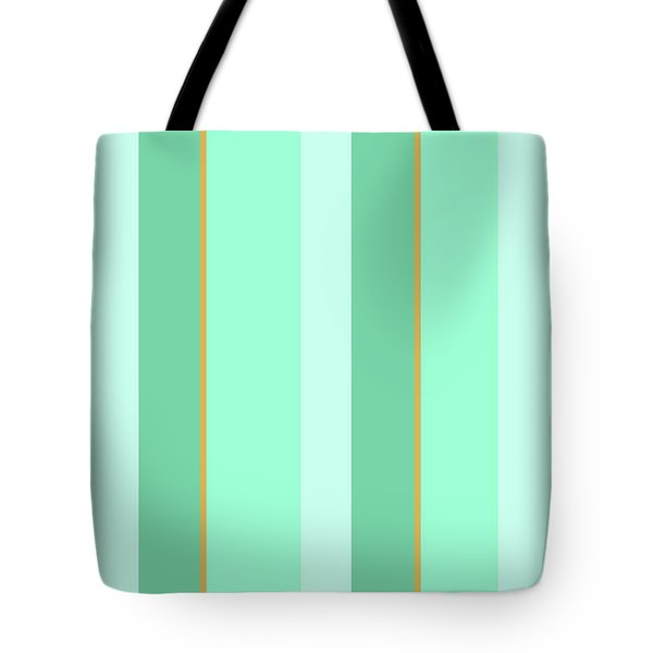 Tote Bag featuring the mixed media Mint Green Stripe Pattern by Christina Rollo