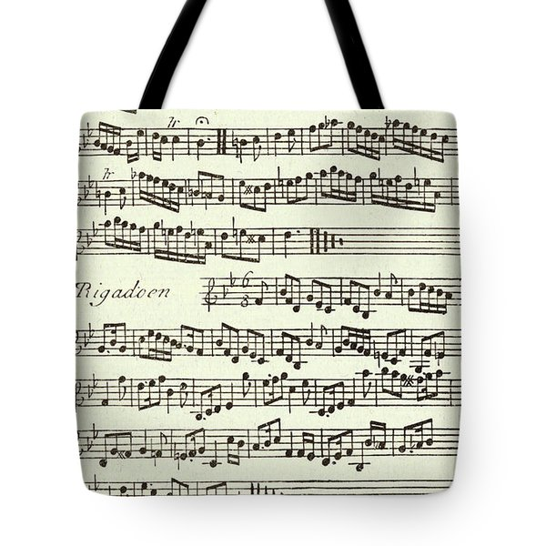 Minuet Music Score For The Violin Published 1731 Tote Bag