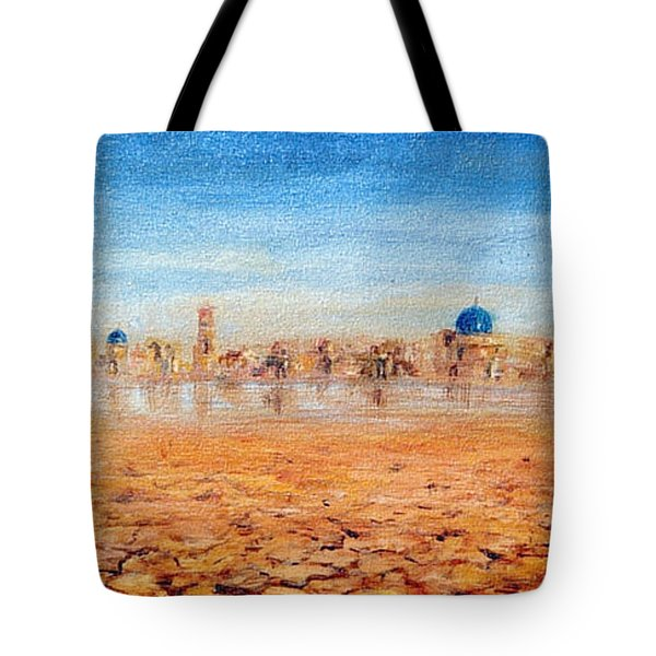 Tote Bag featuring the painting Mirage City by Arturas Slapsys
