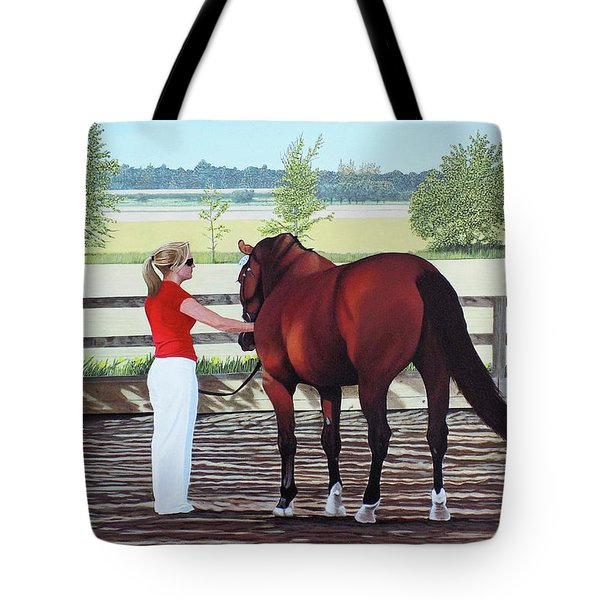 Tote Bag featuring the painting Mirage Of Wassini by Kenneth  Kirsch