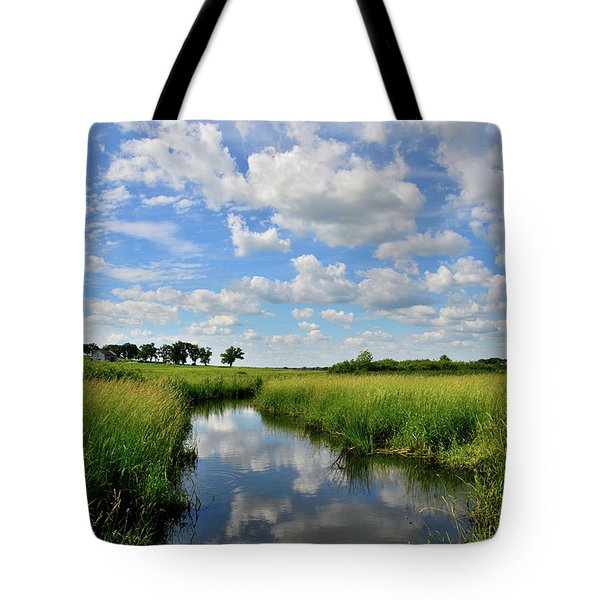 Mirror Image Of Clouds In Glacial Park Wetland Tote Bag