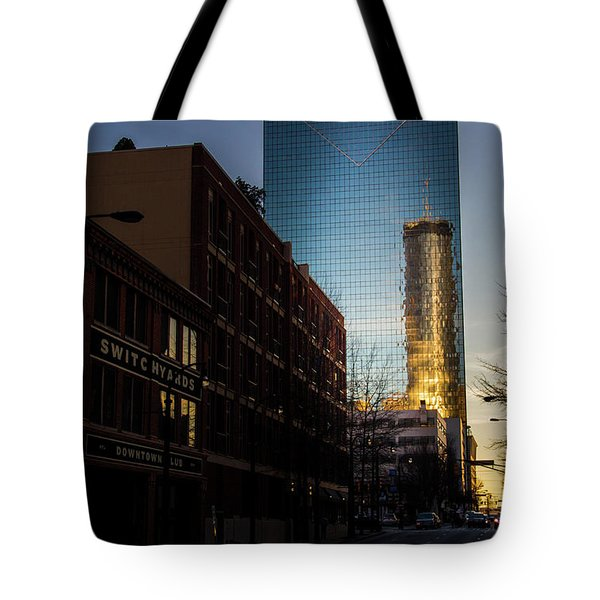 Mirror Reflection Of Peachtree Plaza Tote Bag