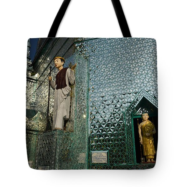 Mirror Temple In Burma Courtyard View Tote Bag by Jason Rosette