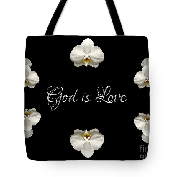Tote Bag featuring the photograph Mirrored Orchids Framing God Is Love by Rose Santuci-Sofranko