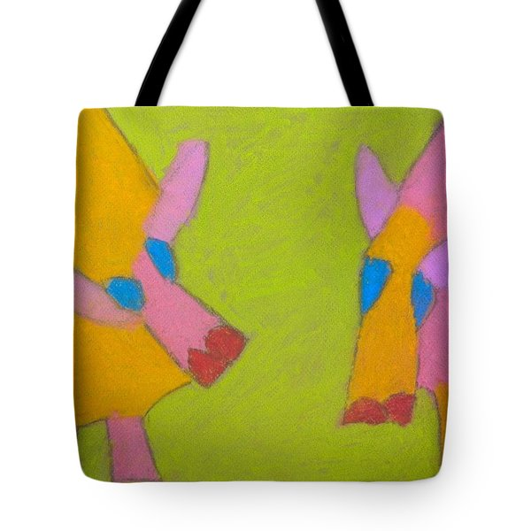 Tote Bag featuring the pastel Mischievous Pigs by Artists With Autism Inc