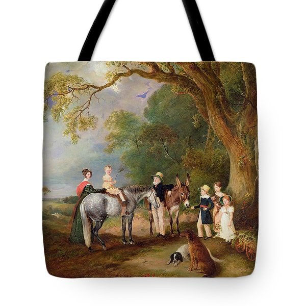 Miss Catherine Herrick With Her Nieces And Nephews Tote Bag by John E Ferneley