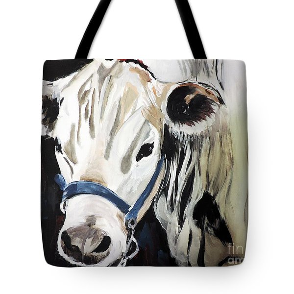 Miss White Tote Bag by Tom Riggs