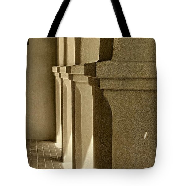 Mission Arches Pano Sepia Tote Bag