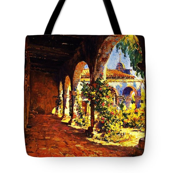 Mission Corridor San Juan Capistrano Tote Bag by Pg Reproductions