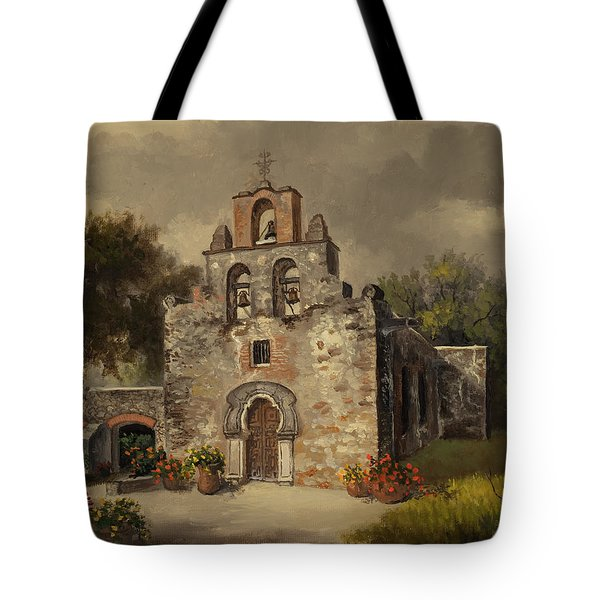 Tote Bag featuring the painting Mission Espada by Kyle Wood