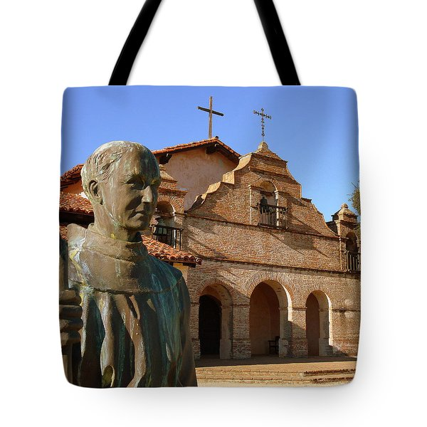 Mission San Antonio And Father Serra Tote Bag