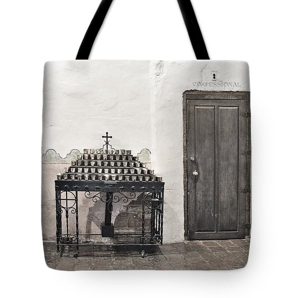 Mission San Diego - Confessional Door Tote Bag by Christine Till
